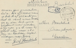 Nederland - 1914 - Militaire Briefkaart Portvrij Van LB SPRUNDEL/1 Naar Haarlem - Poststempels/ Marcofilie