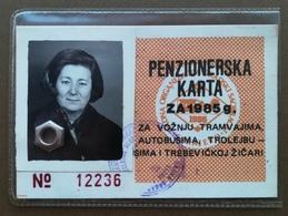 YUGOSLAVIA Bosnia And Herzegovina Female Annual Public Transport Ticket For Retired People - Season Ticket