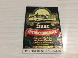 Ancienne Étiquette 1.1 BIÈRE ÉTRANGÈRE DEUTSCHE ERZEUGNIS SAAR GRUBENWASSER - Beer