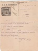 CANADA Lettre Facture Illustrée 17/9/1896 J B E LETELLIER Importateur Thé Sucre Cigares Vins Liqueurs QUEBEC - Canada