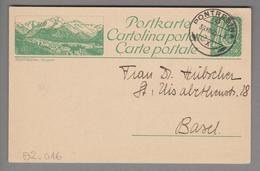 Schweiz GS Bildpostkarte Zu#82.016 übereinstimmend Pontresina 1923-07-30 - Entiers Postaux