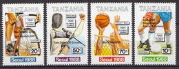 Tanzania MNH Overprinted Set And SS - Summer 1988: Seoul