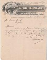 CANADA Lettre Facture Illustrée 3/7/1895 NAZAIRE TURCOTTE épicerie Denrées Coloniales Vins Spiritueux QUEBEC - Canada