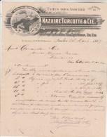 CANADA Lettre Facture Illustrée 25/3/1897 NAZAIRE TURCOTTE épicerie Denrées Coloniales Vins Spiritueux QUEBEC - Canada
