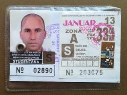 BOSNIA AND HERZEGOVINA Male Annual Public Transport Ticket For University Student - Season Ticket