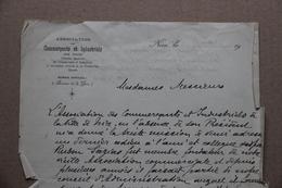 Lettre En-tête Association Des Commerçants Et Industriels De Nice (Alpes-Maritimes), Décès De Ruben Sazias, 1911 - Old Paper