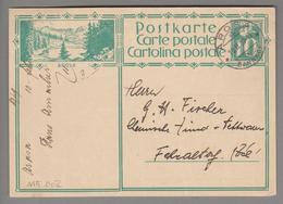 Schweiz GS Bildpostkarte Zu# 115.002 übereinstimmend Arosa 1929-02-10 - Entiers Postaux