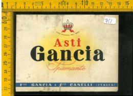 Etichetta Vino Liquore Spumante Gancia Asti - Etiquetas