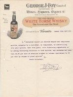 CANADA Lettre Facture Illustrée 16/3/19144 George J FOY Importers The Old Blend WHITE HORSE WHISKY TORONTO - Canada