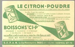 """Buvard BOISSON """"Ci-P"""" Le Citron Poudre Pratique Et économique Remplace Le Citron Dans Tous Ses Usages - Limonades"""