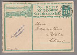 Schweiz GS Bildpostkarte Zu# 115y.018 übereinstimmend Wädenswil 1929-12-21 - Entiers Postaux