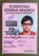 CROATIA Male Annual Public Transport Ticket For University Student - Season Ticket