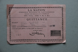 Quittance Assurance La Nation Compagnie Mutuelle De Capitalisation, 1932 - Vieux Papiers