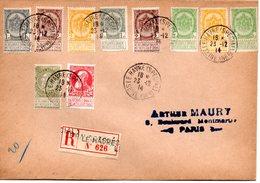 Le Havre (Spécial) 5 Aangetekende Brieven En 12 Zegels Op Fragment - Guerre 14-18