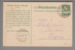 Schweiz Ganzsache 1923-11-13 Lugano SBB Italienisch - Entiers Postaux