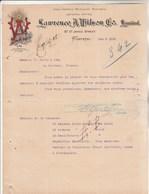 CANADA Lettre Facture Illustrée 5/12/1905 Lawrence A Wilson Co Wine & Spirit Marchants MONTREAL - Canada
