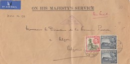 COVER LETTRE. MALTA. 24 4 40. ON HIS MAJESTY'S SERVICE.  TO ALGERIA. PASSED BY CENSOR N° 25 / 3 - Malta (...-1964)