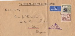 COVER LETTRE. BY AIR MAIL. MALTA. 20 4 40. ON HIS MAJESTY'S SERVICE.  TO ALGERIA. PASSED BY CENSOR N°25. DEPUTY CHIEF/ 3 - Malta (...-1964)