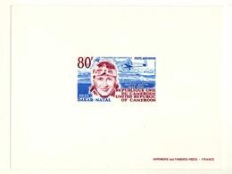 Gravure Couleur Du Timbre Poste Aérienne Maryse Bastié Cameroun. Avion Caudron Simoun Atlantique Sud - Cameroon (1960-...)