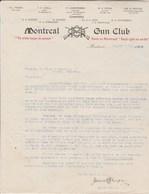 CANADA Lettre Facture Illustrée 27/8/1909 MONTREAL GUN CLUB MONTREAL - Canada