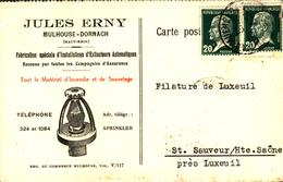 Mulhouse Carte De La Fabrique Jules Erny 1926 Mulhouse Dornach - Mulhouse