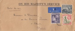 COVER LETTRE. BY AIR MAIL. MALTA. 1940. ON HIS MAJESTY'S SERVICE.  TO ALGERIA. MALTA DEPUTY CHIEF CENSOR  / 3 - Malta (...-1964)