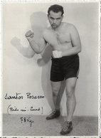 Carte Photo Ancienne < LE BOXEUR < SANTOS POSACCO (Poids MI-LOURDS) 78 Kgs - Boxing