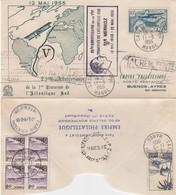 LETTRE. MAROC. 11 5 55. 25° ANNIVERSAIRE TRAVERSEE MERMOZ. CASABLANCA BUENOS-AIRES  / 3 - Marruecos (1891-1956)