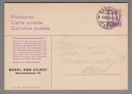 Schweiz Ganzsache Bahn 1942-08-13 Basel Zudruck Basel SBB Eilgut - Entiers Postaux