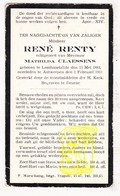 DP René Renty ° Lombardsijde Middelkerke 1883 † Antwerpen 1930  X Math. Claessens / Begr. Deurne - Devotion Images