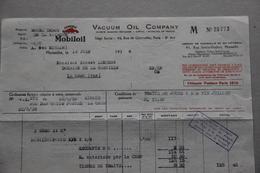 Facture Mobiloil Vacuum Oil Company, Paris, Marseille, 1938 - France