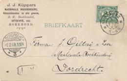 Nederland - 1907 - Martinstempel DORDRECHT/3 Op Zakenbriefkaart Uit Roermond - Poststempels/ Marcofilie