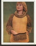 "K. USSR Soviet Russia 1979 Women Fashion Sweater With Collar Hood Knitting Pattern W/ Needles On The Backside Size 6""x7"" - Fashion"