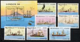 NICARAGUA 1990, London 90, Navires à Vapeur, 7 Valeurs Et 1 Bloc, Oblitérés / Used. R110-1 - Boten