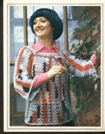 """K. USSR Soviet Russia 1979 Women Fashion Pullover Knitting Pattern With Needles On The Backside Size 6""""x7"""" - Fashion"""