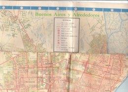 B1967 - MAP - CARTINA - CARTA STRADALE Automovil Club Argentino BUENOS AIRES Y ALREDEDORES - Cartes Topographiques