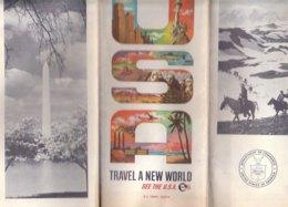 B1969 - MAP - CARTINA - CARTA TRAVEL A NEW WORLD USA America Automobile Association 1961/DISTANZE KILOMETRI - Carte Stradali