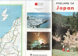 B1974 - Brochure CARTINA MAP - GIAPPONE - JAPAN/ZENKOJI/ISE-SHIMA/KAMIKOCHI/LAKE NOJIRI Ed.Olympic Games Sapporo '72 - Carte Geographique