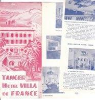 B1993 - Brochure MAROCCO - TANGER - HOTEL VILLA DE FRANCE Anni '50/ - Dépliants Touristiques