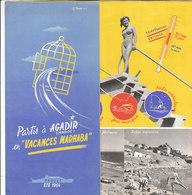 B1995 - Brochure MAROCCO - AGADIR - LES VACANCES MARHABA 1954/FOUNTY/TAFRAOUT/RABAT/NAVI PAQUEBOTS PAQUET - Dépliants Touristiques