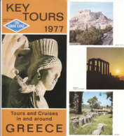 B1999 - Brochure GRECIA - KEY TOURS 1977 GREY LINE/MAP/ATHENS/DELPHI/MYCENAE/METEORA/OLYMPIA/MYKONOS/AEGINA - Dépliants Touristiques