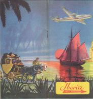 B2009 - AVIAZIONE - Brochure LINEAS AEREAS ESPANOLAS IBERIA Anni '50/ROUTE/MAP/CARTINE - Materiale Promozionale