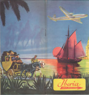 B2009 - AVIAZIONE - Brochure LINEAS AEREAS ESPANOLAS IBERIA Anni '50/ROUTE/MAP/CARTINE - Cadeaux Promotionnels