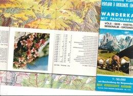 B2032 - CARTA DEI SENTIERI E RIFUGI FIE'/SIUSI/CASTELROTTO/ALPE DI SIUSI/VAL GARDENA Ed.1973 - Cartes Topographiques
