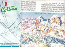 B2036 - CARTA /MAP - BELLUNO - CORTINA D'AMPEZZO Ed. Anni '60/IMPIANTI SCI/PUBBLICITA' VOV SPEZZIOL - Carte Topografiche