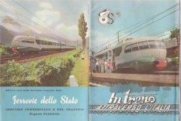 B2056 - Brochure IN TRENO ATTRAVERSO L'ITALIA - GUIDA PER IL VIAGGIATORE/CARTA FERROVIE DELLO STATO ILLUSTRATA Anni '60 - Dépliants Touristiques