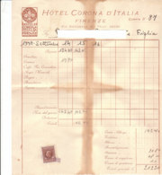 B2062 - FATTURA CARTA INTESTATA HOTEL CORONA D'ITALIA - FIRENZE - MARCA DA BOLLO 1938 - Italie