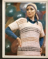 """K. USSR Soviet Russia 1979 Women Fashion Blouse Pullover Pattern With Needles On The Backside Size 6""""x7"""" - Fashion"""