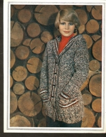 """K. USSR Soviet Russia 1979 Women Fashion Hooded Jacket Pattern With Needles On The Backside Size 6""""x7"""" - Fashion"""
