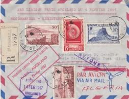 LETTRE. ALGERIE. 4 FEV 1957. PREMIERE LIAISON AERIENNE DIRECTE PARIS-AUCKLAND. RECOMMANDE ORAN   / 3 - Algeria (1924-1962)